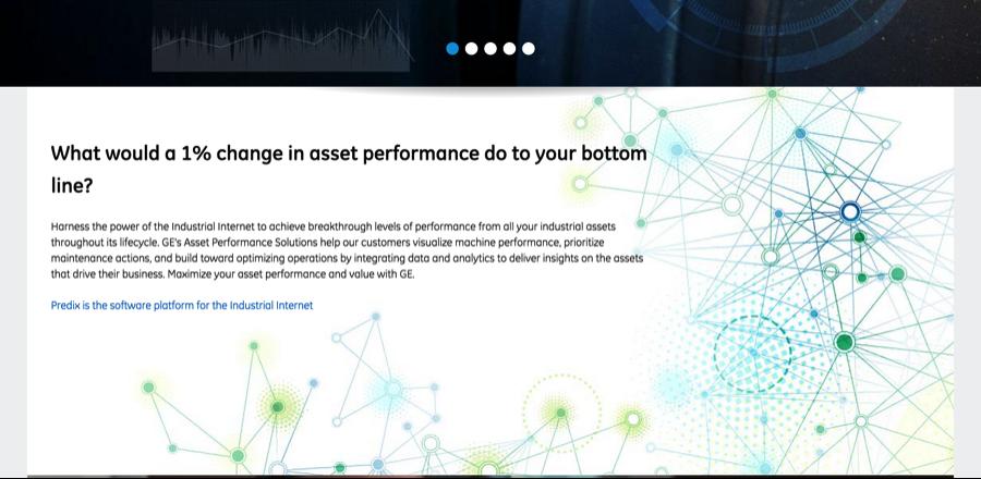 GE sitio web utilizando azul de formato para diferenciar el texto a partir de hipervínculos