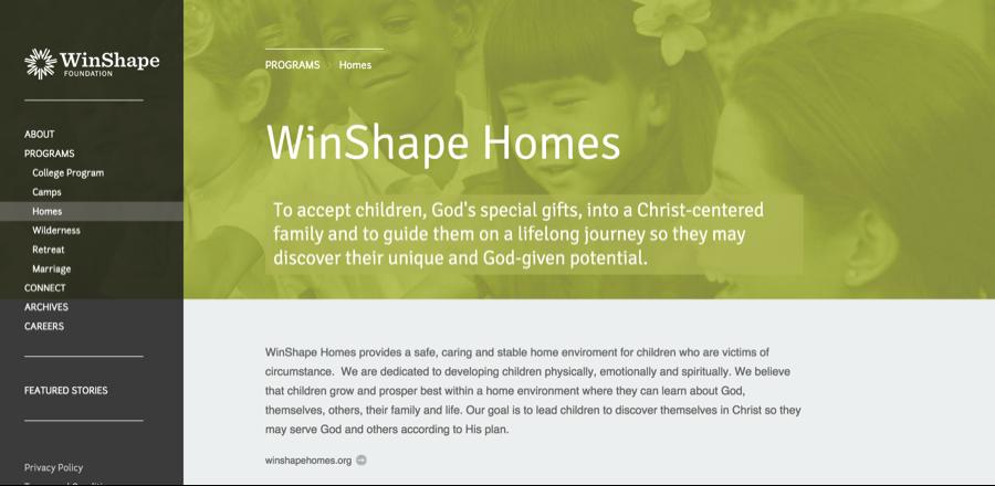 WinShape sitio web utilizando coherente el diseño de la página para mejorar la experiencia del usuario