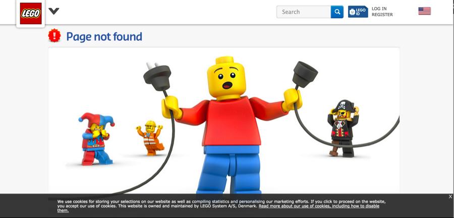 LEGO sitio web con creative página de error 404