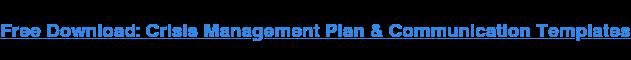 Descarga Gratis: Plan De Gestión De Crisis Y Comunicación Plantillas