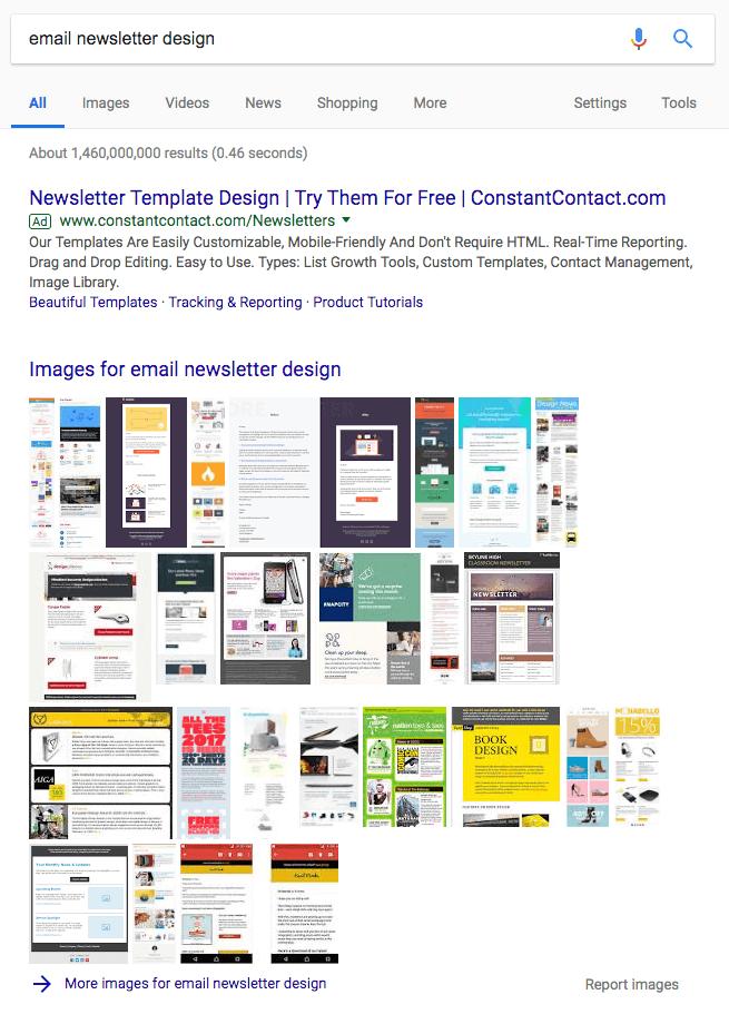 Paquete de imágenes en un motor de búsqueda de Google de la página de resultados