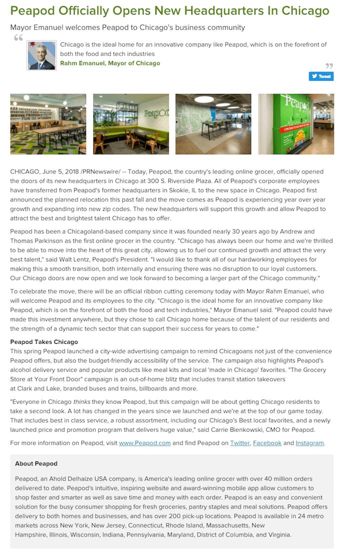 Comunicado de prensa de Peapod la presentación de informes sobre la empresa de la nueva sede en Chicago