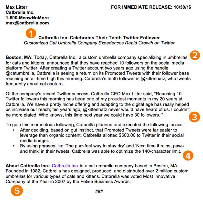Ejemplo de comunicado de prensa formato de HubSpot, con la naranja marcadores que muestran cinco reglas a seguir