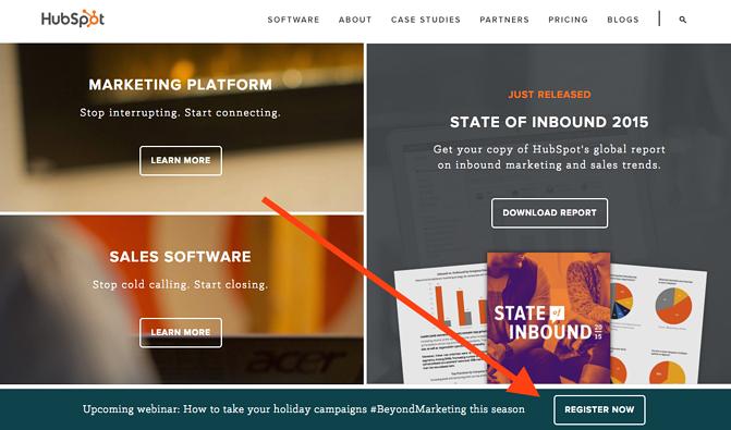 Página de inicio de la CTA en HubSpot la promoción de webinar